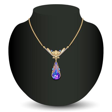白い宝石と金色のネックレス女性のイラスト