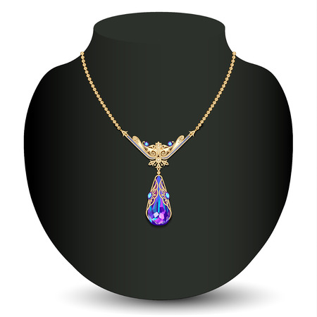 illustration of a Golden necklace  female with white precious stones