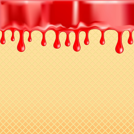 Sagging red glaze on the sweet food texture vector background. To melt the icing on seamless pattern waffles. To edit - easy to change colors. Illustration