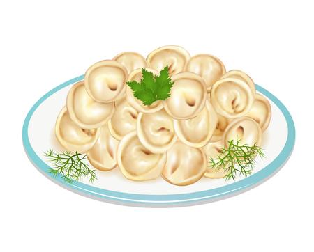 Illustration of boiled dumplings on a plate Illustration