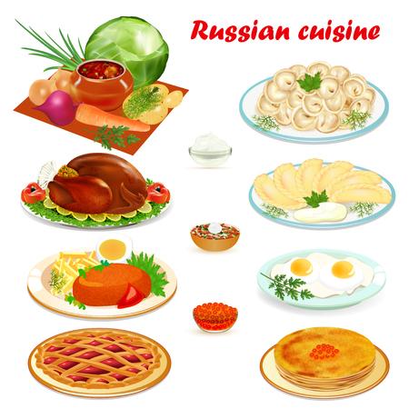 Illustration set of Russian cuisine with soup, dumplings pancakes, scrambled eggs, hamburger and cake Illustration