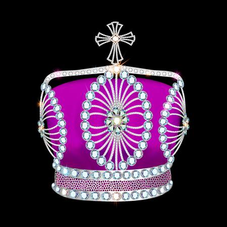 platinum: shiny crown of silver platinum and precious stones