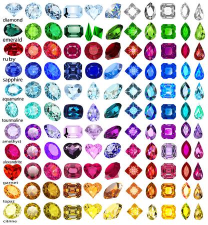 異なるカットや色の宝石のイラスト セット