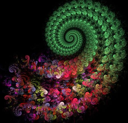 花柄で明るいスパイラルのフラクタル図