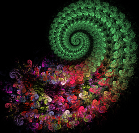 fractal illustration of a bright spiral with floral patterns