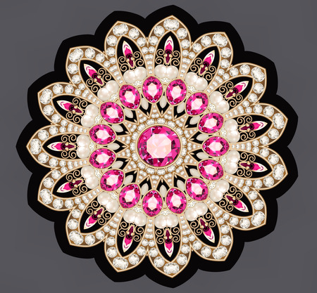 Illustration gold jewelry brooch with rubies and pearls
