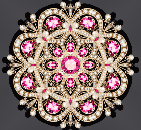 ルビーと真珠の図ゴールドジュ エリー ブローチ