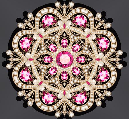 Broche illustration bijoux en or avec rubis et perles Banque d'images - 86538134