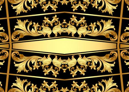 illustration background pattern frame from gild on black background Фото со стока
