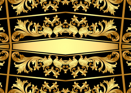 illustration background pattern frame from gild on black background Stock Photo