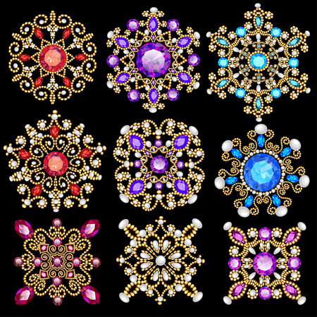 Illustration set of vintage pendants ornament made of beads. Vectores