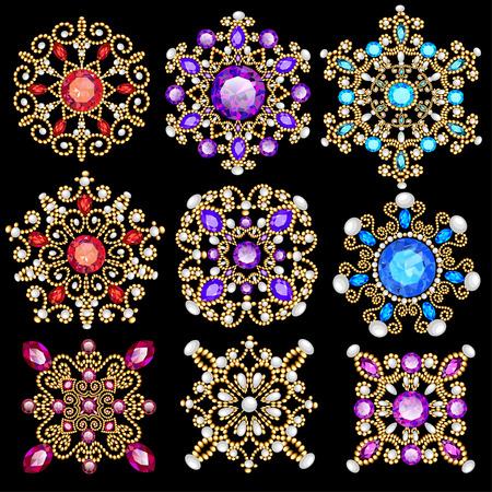 diamond earrings: Illustration set of vintage pendants ornament made of beads. Illustration