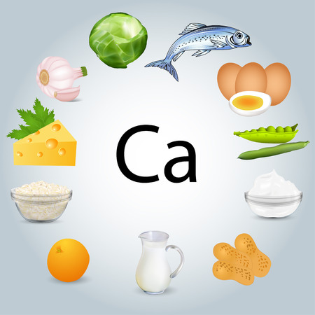 Illustration of food stuffs rich in calcium.