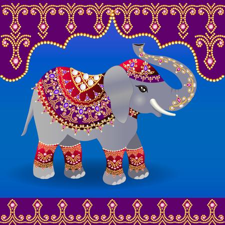 結婚式のためにインドの象のイラストが飾られています。