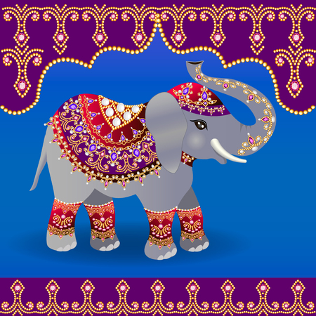 Illustration of Indian elephant decorated for a Wedding.