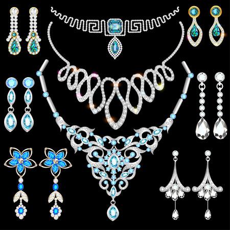 Ensemble d'illustrations de bijoux en or et en argent, boucles d'oreilles, collier, pendentifs Banque d'images - 89460606