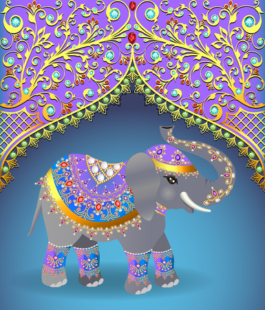 Illustration of Indian elephant decorated for a Wedding