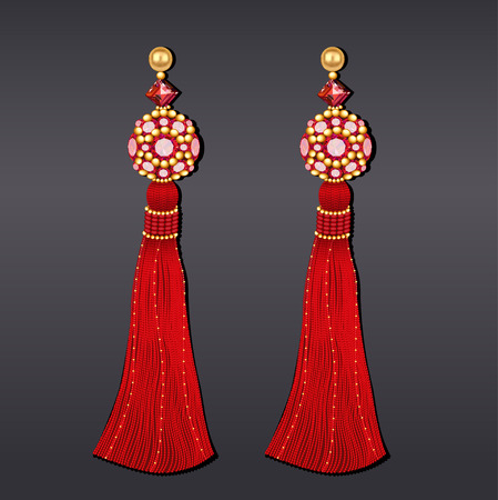 Illustration of earrings from beads of red and gold with tassels Illustration