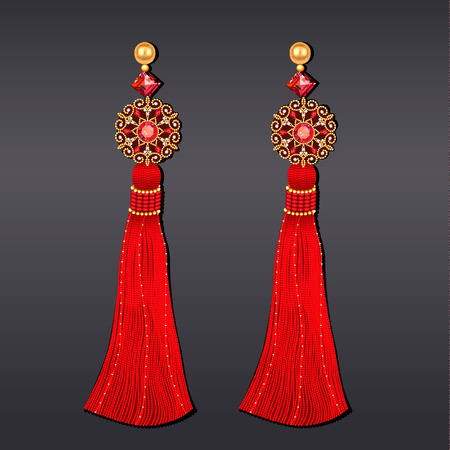 Illustration of earrings from beads of red and gold with tassels.