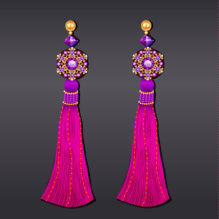 Illustration of earrings from beads of purple gems and gold with tassels.