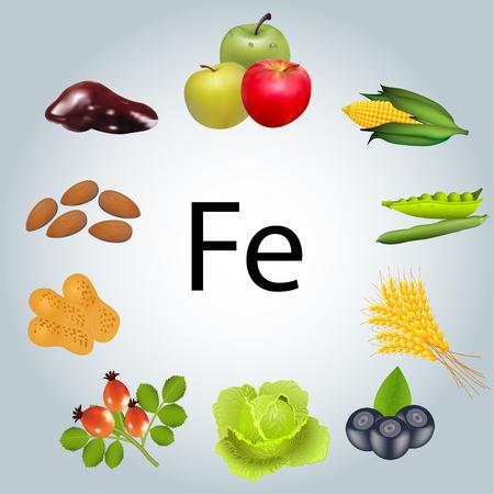 Illustration of food rich in iron. Illustration