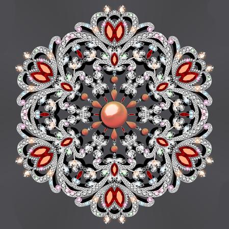 Illustration  brooch with precious stones. Stock Photo