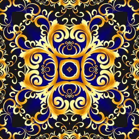 illustration vintage blue background with vegetable gold(en) pattern Stock Illustration - 90070696
