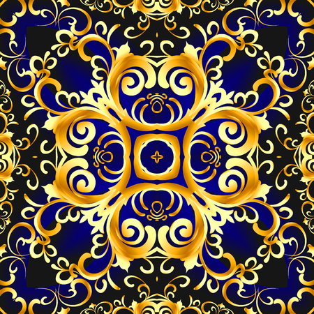 illustration vintage blue background with vegetable gold(en) pattern