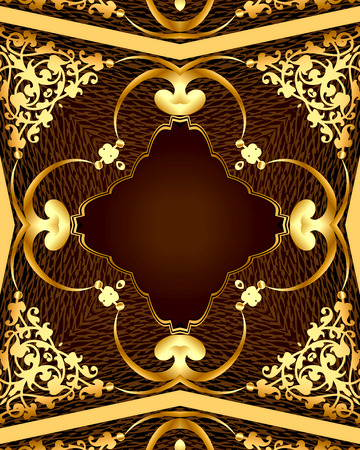 illustration  background with brown frame with gold(en) pattern Stock Photo
