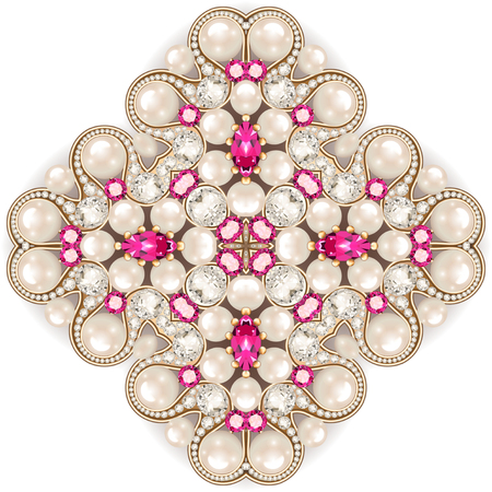 Mandala brooch jewelry, design element.  pearl vintage ornamental background.