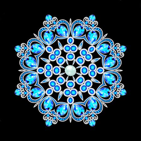 Christmas snowflake crystal precious. Beautiful jewelry, medallion, brooch, decoration on neck, mandala, frame. Fashion pattern brilliant stones,  applique rhinestones,
