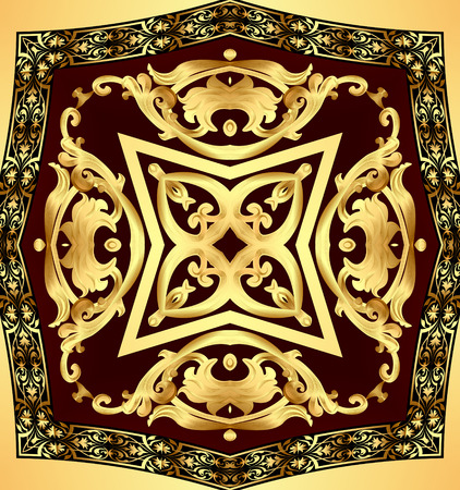 illustration chocolate background with gold(en) pattern Stock Photo