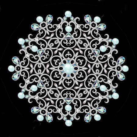 Christmas snowflake crystal precious. Beautiful jewelry, medallion, brooch, decoration on neck, mandala, frame. Fashion pattern brilliant stones,  applique rhinestones Stock Photo