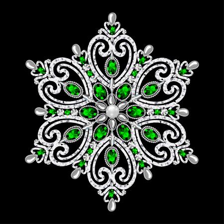A brooch jewelry, design element. Geometric vintage ornamental background.
