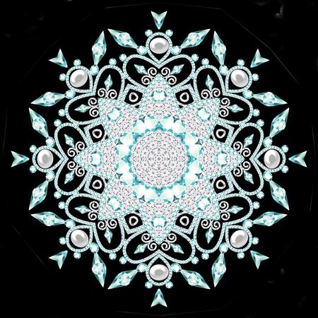 brooch jewelry, design element.  Geometric vintage ornamental background. Banque d'images