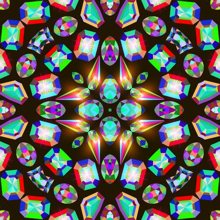 illustration background  placer precious stones on black