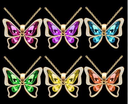 Colorful moths pendants icon. Stock Illustratie