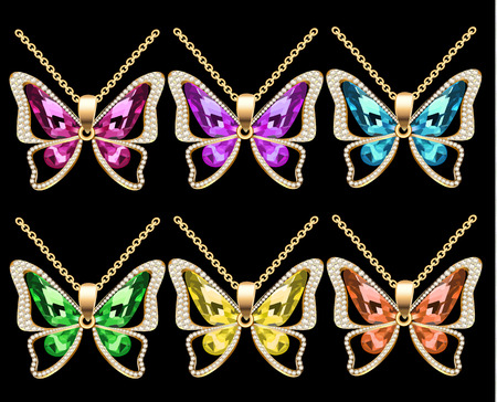 Colorful moths pendants icon. Illustration