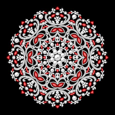 illustration brooch jewelry, design element.  Geometric vintage ornamental background. Stock Photo