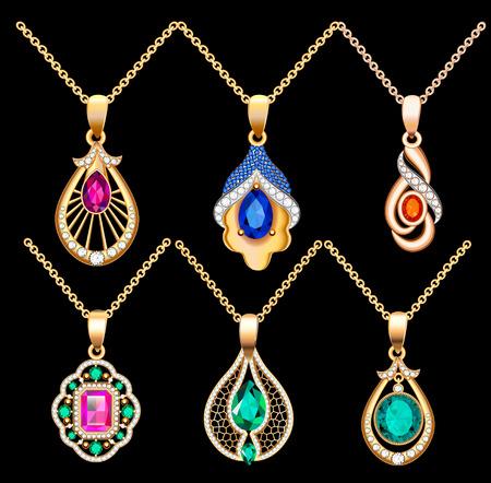 Illustration set of necklace pendants jewelry made of precious stones Illustration