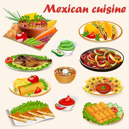Illustration of a set of Mexican cuisine dishes with soup, dorado fish, buritos, envelopes de poyo, empanadiyas and sauces