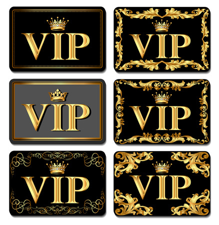 Illustration set on design VIP business card gold with crown