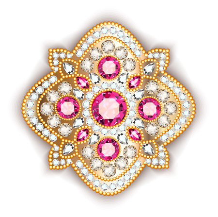 Brooch jewelry, design element. Geometric vintage ornamental background. Illustration