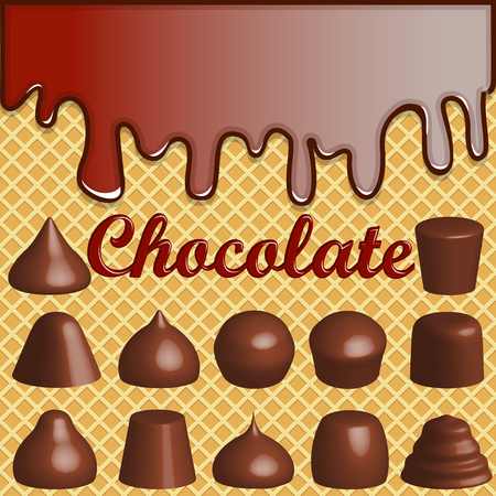 Illustration of a waffle background with smudges of chocolate and a set of chocolates. Illustration