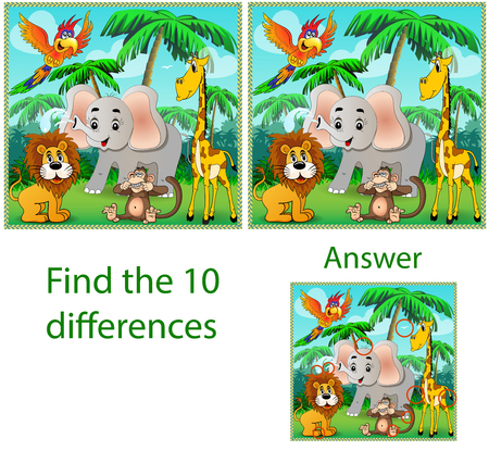Children's illustration Visual puzzle: find ten differences with the beasts: an elephant, a monkey parrot and a giraffe in the jungle