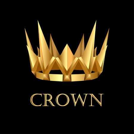 Illustration royal gold corona on black background 일러스트