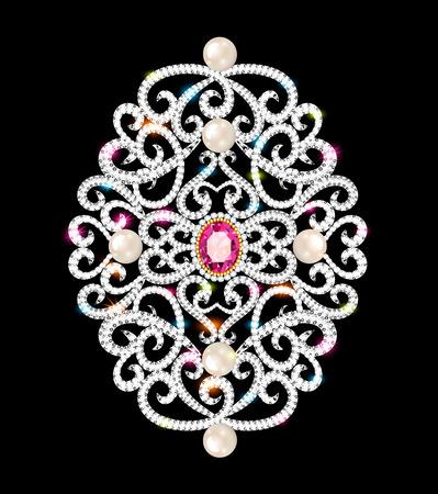 Illustration  brooch pendant with  and precious stones. Filigree victorian jewelry. Design element 일러스트