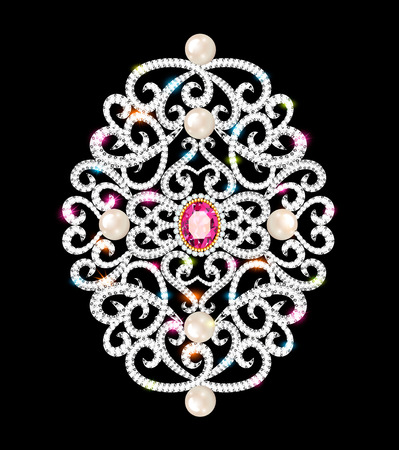 Illustration  brooch pendant with  and precious stones. Filigree victorian jewelry. Design element 矢量图像