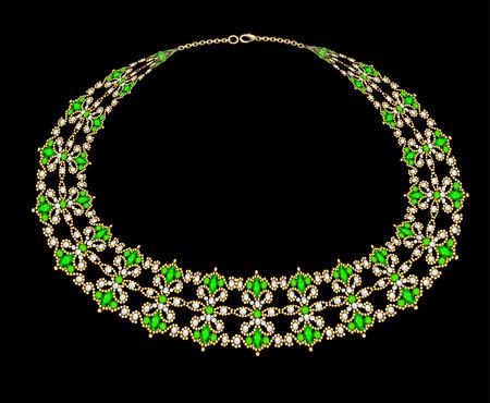 Illustration of a female necklace of beads and precious stones Illusztráció
