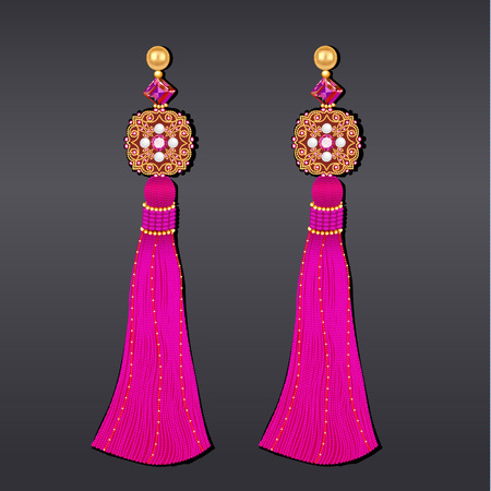 Illustration of earrings from beads of purple gems and gold with tassels